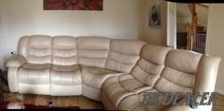 Cream leather corner sofa for sale
