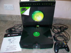 XBOX CONSOLE (ORIGINAL) WITH CABLES AND CONTROLLER.  for sale