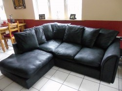 Left Hand Corner Sofa Black Leather Effect
