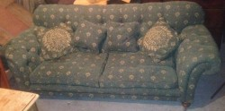 Beautiful drop end couch on carved legs for sale