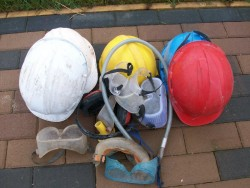 Safety hats, equipment and goggles