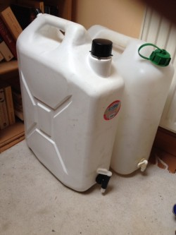 Two 20 l water drums