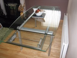 Bespoke Glass Dining Table ( seats 6 adults - more if extended )