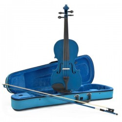 NEW 1/2 SIZE VIOLIN BLUE WITH BOW + CASE