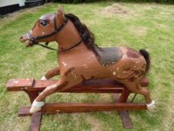 victorian oak fairground rocking horse