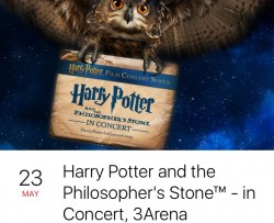 2 tickets - harry potter and the philosopher's stone - in concert 3arena