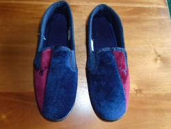 BRAND NEW BLUE and RED MENS SLIPPERS SIZE 9, NEVER WORN