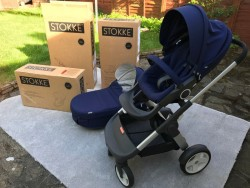 Navy Blue Genuine Stokke Crusi Stroller Chassis ,Seat and Carrycot Set