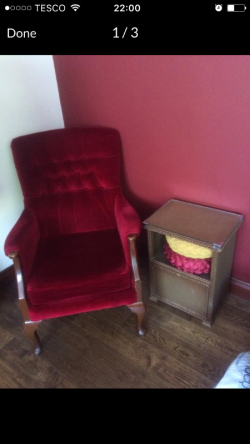 Red wingback chair