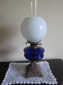 Vintage Oil Lamp. Blue Glass Bowl