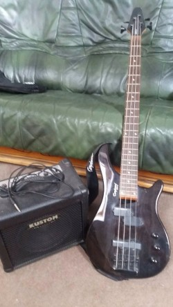 Tanglewood Base Guitar, Case and Amplifier