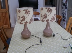 Pair of ceramic lamps with shades
