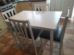 BRAND NEW WHITE TABLE & 4 CHAIRS