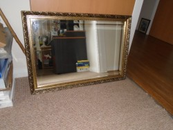 LARGE GOLD GILT FRAMED MIRROR, 38 x 26, with 4 HANGING HOOKS to HANG EITHER PORTRAIT or LANDSCAPE
