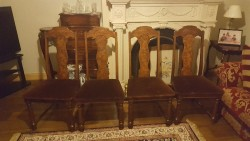 4  antique  walnut  high backed dining chairs