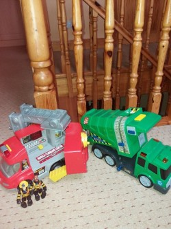 Fire truck and bin lorry