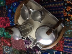Vintage piquet ware set and tray