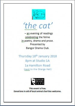 Bangor Drama Club presents 'The Cat'  18 January 2018