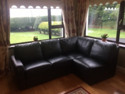 Corner L Shaped Black Leather Couch