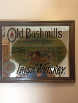 Old bushmills whiskey mirror
