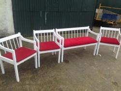White benches