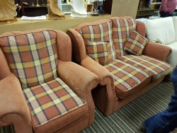 As new 2 seater fabrics couch + chair