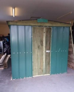 Profile box sheeting shed with timber frame and timber floor