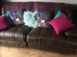 Recliner sofas brown leather x2