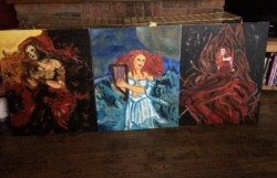 Elements set of paintings on canvas