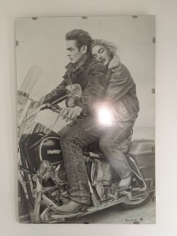 James Dean and Marilyn Monroe on a Harley