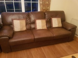 3 seater leather couch & 2 arm chairs