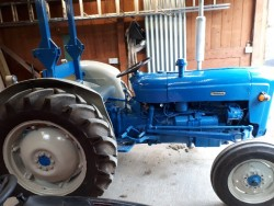 Fordson Super Dexta with gang mower and link box