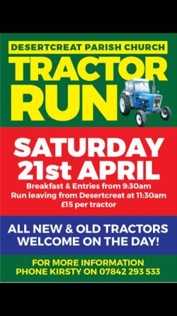 Desertcreat church tractor run this Saturday