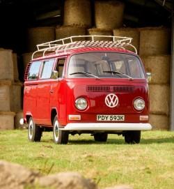 RED T2 Bay Window Camper Van