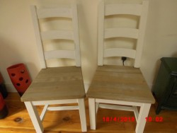 Distressed Waxed Solid Wood Pine/Cream Kitchen/Dining Chairs