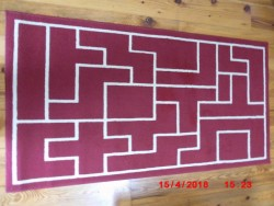 Red Runner Rug- With Cream Design.