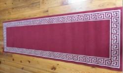 Long Red Runner Rug with Cream Border Design