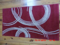 Impuls Collection Red Runner Rug- With Cream/Beige Design