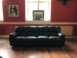 The Wexford Furniture Warehouse: 4 Seater Black Leather Reclining