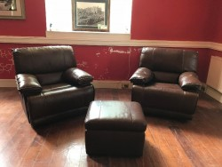 The Wexford Furniture House: Leather Recliner Pair with Footstool