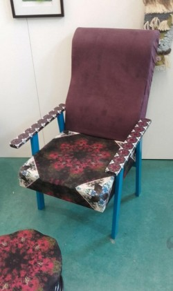 refurbished arm chair with matching footstool