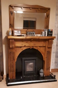Boru stove, hearth, surround and mirror