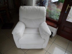 Ivory faux leather recliner chair