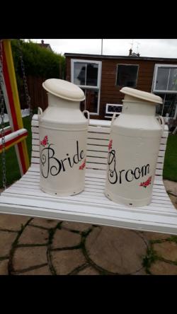 HIRE Bride and groom creamy cans