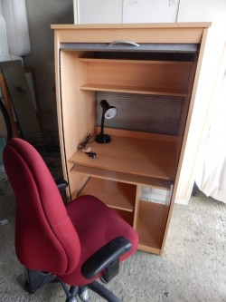 shutter computer desk, lamp and chair