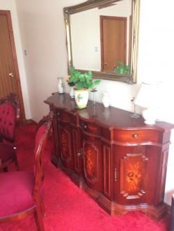 Antique Dining Table, 6 Chairs and Matching Side Cabinet