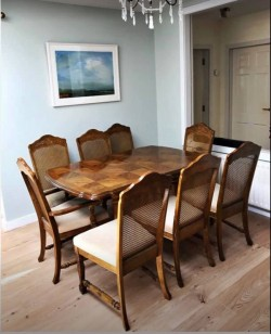 Dining room table, chairs and cabinet