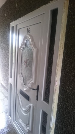 White upvc front door and frame