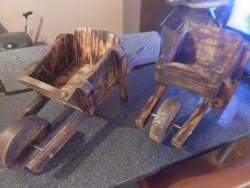 wooden wheelbarrow planters