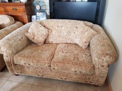 As new 2 seater tapestry style fabric couch